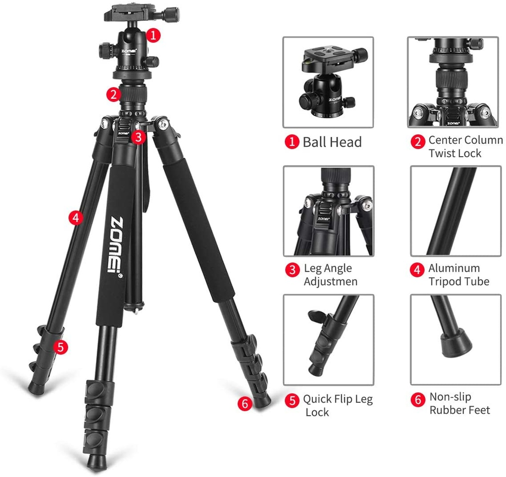 Camera Tripod for DSLR with 360 Degree Ball Head Lightweight Aluminum Alloy Tripod for Canon Nikon DSLR and Camcorders(Black).