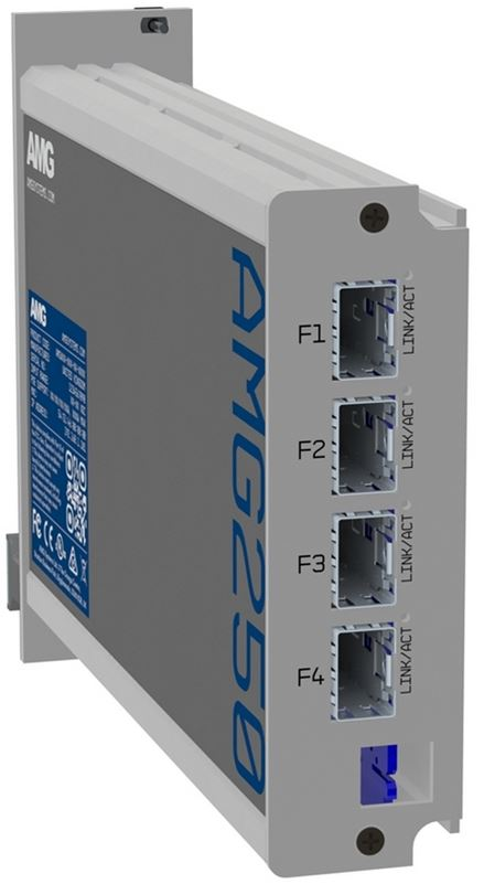 AMG - AMG250R-4G-4S - Four Channel Industrial Hardened Media Converter, 4x 10/100/1000Base RJ-45 Copper Ports + 4x 100/1000Base SFP Ports, 100Mbps/1Gbps Multirate Support, Rack Mount, -40°C to +75°C, 10-36VDC Power Input. SFPs NOT INCLUDED.