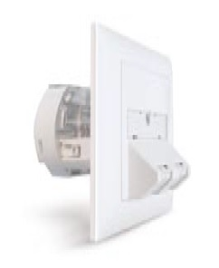 Datwyler Cables - 309407 & 309413 - FTTH data outlet UP hybrid, incl. Fast Ethernet / Fast Ethernet module, without pigtails, incl. couplers.