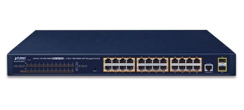 PLANET - GS-4210-24P2S - 24-Port 10/100/1000T 802.3at PoE + 2-Port 100/1000X SFP Managed Switch (PoE Power Budget 300 watts).