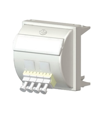 Brand-Rex / Leviton - FPCANGL4SM3UK - 50 x 50 mm Fibre Faceplate Module Loaded with LC Quad White.