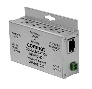 Comnet - CLFE1EOU - Single Channel Ethernet over UTP with IEEE 802.3af 15.4W Pass-Through PoE 10/100Mbps, Industrial, Local/Remote Configurable, Mini*.