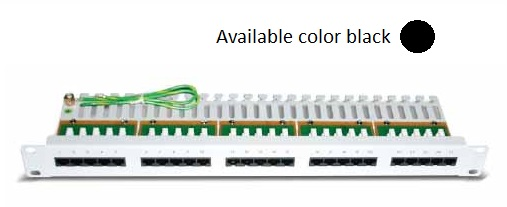 Datwyler Cables - 418002 - Voice Patch Panel CU 25 RJ45 Cat 3 Loaded Black.
