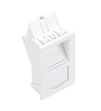 Leviton - LI137-AW1 - Bezel LJ6C STYLE INSERT 25x38mm, 1-PORT, Angled with Shutter/window, White.