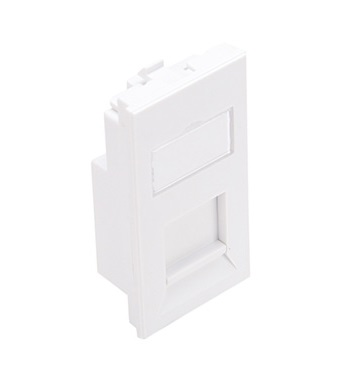 Leviton - LI150-1W1 - Bezel BS STYLE W/PLT Insert, 50x25 mm, 1-Port, Flat with Shutter & Window, White.