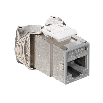 Leviton - 6ASJK-RG6 - Atlas-X1 Cat6A Shielded QuickPort Module Jack, Component-Rated, Gray.