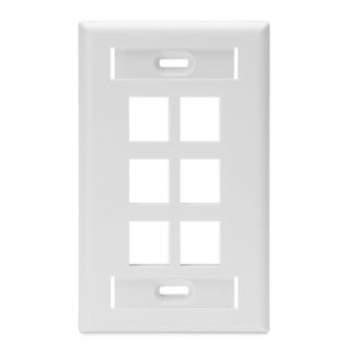 Leviton - 42080-6WS - 6-Port QuickPort Single Gang Wallplate w/ ID Windows (114.3 x 69.85mm).