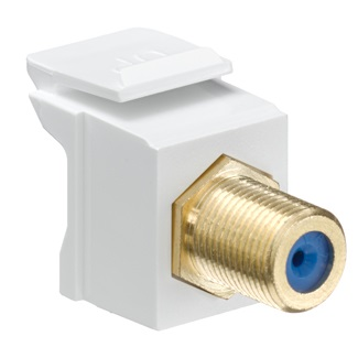 Leviton - 40831-BW or 40831-0BW - Feedthrough QuickPort F-Connector, Gold-Plated, White Housing.