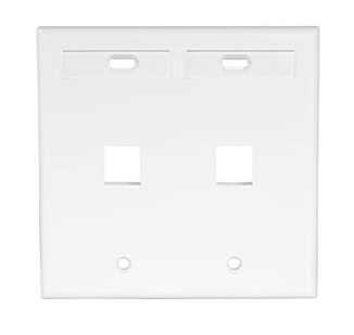 Leviton - 42080-2WP - Dual-Gang QuickPort Wallplate with ID Windows, 2-Port, White.