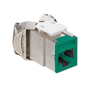 Leviton - 6ASJK-RV6 - Atlas-X1 Cat6A Shielded QuickPort Module Jack, Component-Rated, Green.