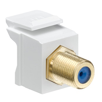 Leviton - 40831-FWG - Feedthrough QuickPort F-Connector, Gold Plated, White Housing.