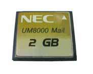 NEC - BE107683 - UM8000 2GB CF Memory flash card, for storage of the application software and the mailboxes The 2 GByte version can hold up to 100 hours of message storage.