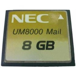 NEC - AKS UM-8G EU, UM8000 8GB Flash Memory card, for storage of the application software and the mailboxes The 8 GByte version can hold up to 500 hours of message storage.