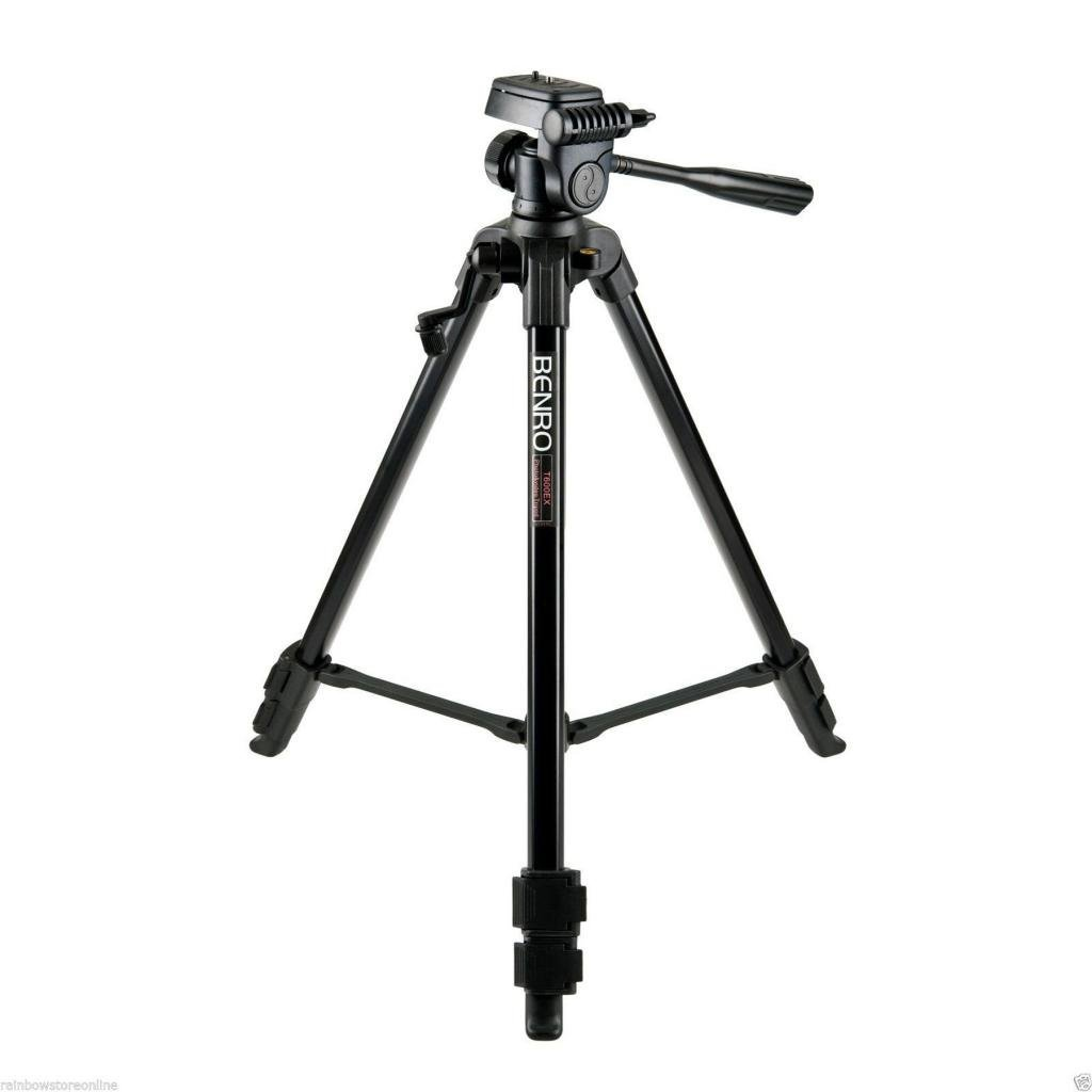BENRO - T600EX - 3-Way Head Aluminium Tripod, Lightweight (Black), Video Tilt head, Max Load 3 kg, Height (55~144) cm.
