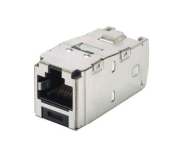Panduit - CJS6X88TGY - Cat6A RJ45 10Gb/s 8-position, 8-wire universal shielded black module jack with integral shield.