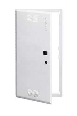 "Leviton - 47605-28S - SMC 28"" Premium Vented Hinged Door, White, Dimensions H x W x D (744.7 x 396.8 x 6.4 mm)."