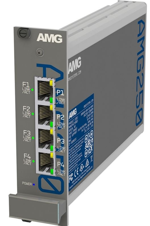AMG - AMG250R-4G-4S - Four Channel Industrial Hardened Media Converter, 4x 10/100/1000Base-T(x) RJ45 Copper Ports + 4x 100/1000Base-Fx SFP Ports, 100Mbps/1Gbps Multirate Support, Rack Mount, -40°C to +75°C, 10-36VDC Power Input. SFPs NOT INCLUDED.