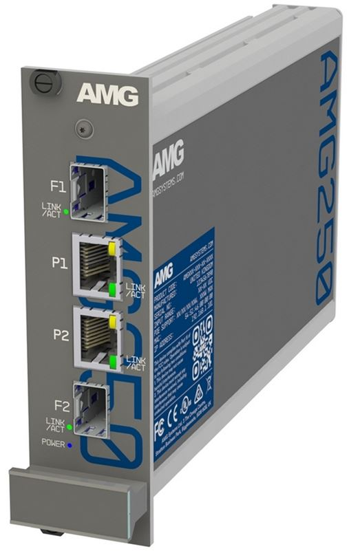 AMG - AMG - AMG250R-2G-2S - Dual Channel Industrial Hardened Media Converter, 2x 10/100/1000Base-T(x) RJ45 Copper Ports + 2x 100/1000Base-Fx SFP Ports, Multirate Support, DIN rail/Panel mount, -40°C to +75°C, 10-36VDC Power Input. SFPs NOT INCLUDED.