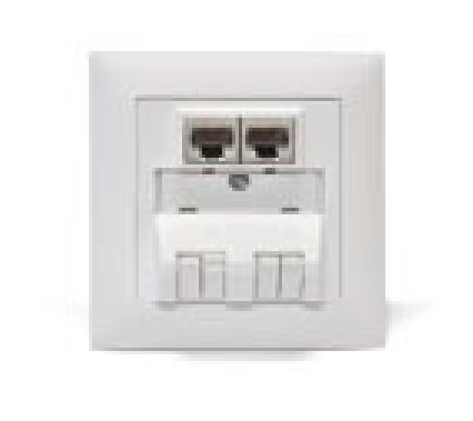 Datwyler Cables - 309407 & 309413 - FTTx outlet UP Hybrid, incl. 2 x RJ45 Modules Cat6 + 2 x LCD/APC Coupler w/o pigtails, White.