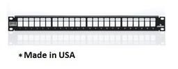 [4S255-S24] Leviton - 4S255-S24 - Atlas-X1™ PATCH PANEL 24-PORT Shielded 1U FLAT + BAR, QuickPort® EMPTY, Made in USA.