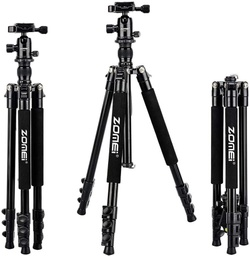 [Q555] Zomei - Q555 - Aluminum Alloy Tripod, 360 Degree Ball Head, Lightweight (Black), Height (57.67~158.75) cm.