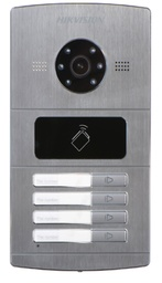 [DS-KV8402-IM] Hikvision - DS-KV8402-IM - 1.3 MP Villa Door Station, 4-ch Indoor station access, Built-in IC card reader, Camera resolution HD, 720P, 25fps(P), IR Supplement 10M/100M, Aluminum alloy, IP65, Self-adaptive Ethernet, RS-485. 4-ch alarm input, 1-ch alarm output, 12 VDC. (1Year Standard Warranty).